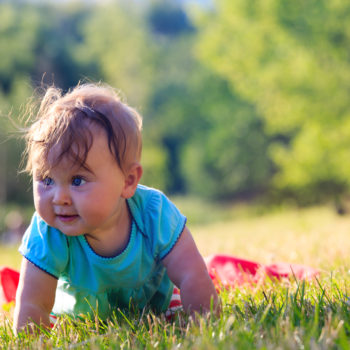 little baby learning to crawl in summer park
