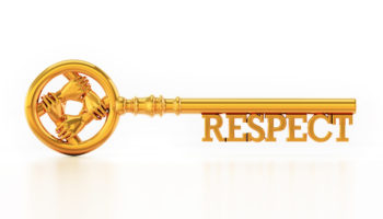 Respect key with holding hands isolated on white background. 3D illustration